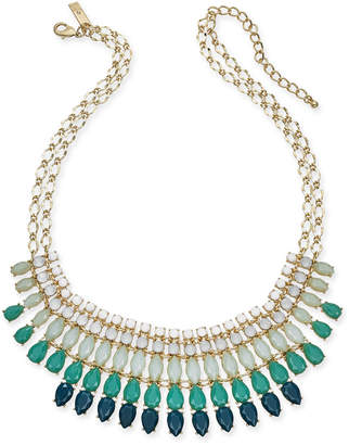 "INC International Concepts I.n.c Gold-Tone Stone Multi-Layered Statement Necklace, 18"" + 3"" extender, Created for Macy's"