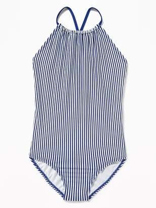 Old Navy Seersucker-Stripe High-Neck Swimsuit for Girls