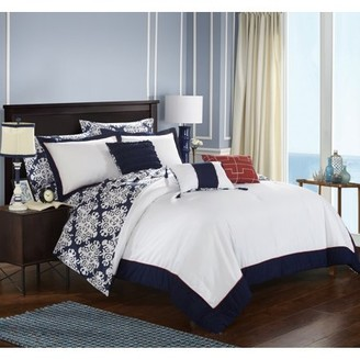 Chic Home 10-Piece Lalita Navy Blue and White REVERSIBLE Medallion printed PLUSH Hotel Collection Queen Bed In a Bag Comforter Set Navy With sheet set
