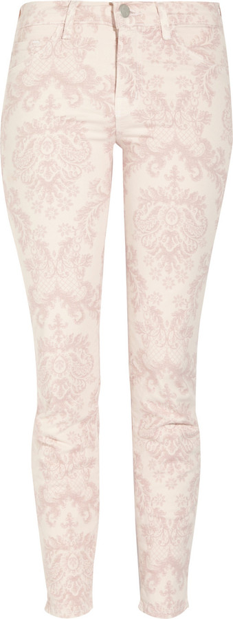 J Brand 835 cropped printed mid-rise skinny jeans