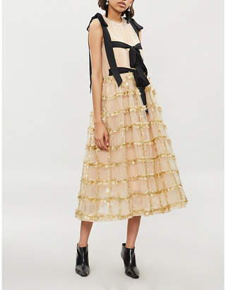 Simone Rocha Tinsel-embellished tulle dress