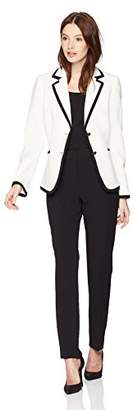 Tahari by Arthur S. Levine Women's Pebble Crepe Long Sleeve Pant Suit with framing Detail