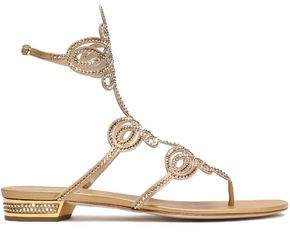 Rene Caovilla Rene' Caovilla Crystal-Embellished Cutout Metallic Satin Sandals