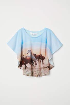 H&M Wide-cut Printed Top - Blue