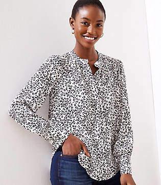 8eb6421e4a296d LOFT Petite Leopard Print Crossover Yoke Shirt