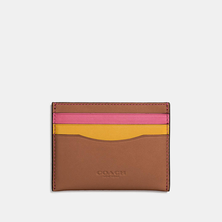 Coach   COACH Coach Flat Card Case In Colorblock Leather