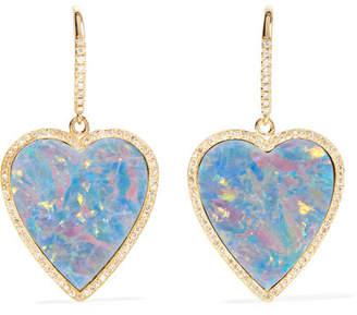 Jennifer Meyer Heart 18-karat Gold, Diamond And Opal Earrings