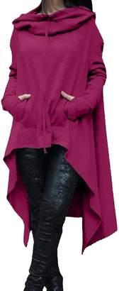 Futopion Women's Asymmetrical Hem Long Sleeve Hoodies Sweatshirts Tunic Tops XXL
