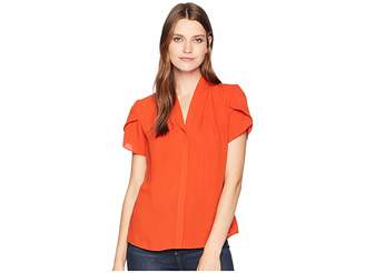 Calvin Klein Short Sleeve Woven Pullover Top Women's Clothing