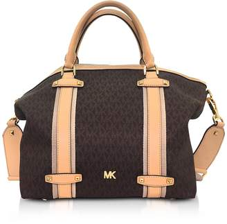 Michael Kors Burnt Signature Coated Twill Griffin Large Satchel