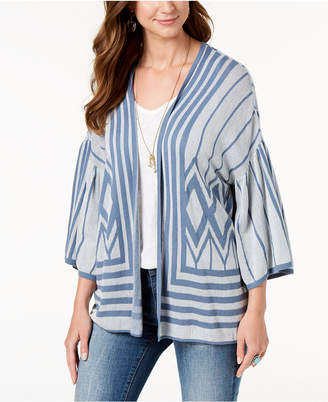Style&Co. Style & Co Cotton Printed Drop-Sleeve Cardigan, Created for Macy's