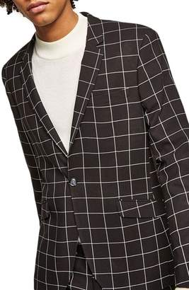 Topman Skinny Fit Windowpane Suit Jacket