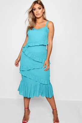 boohoo Plus Multi Ruffle Midi Dress