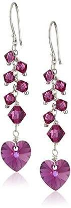 Swarovski Elements Crystal Heart and Bicone with Sterling Silver Earwire Drop Earrings
