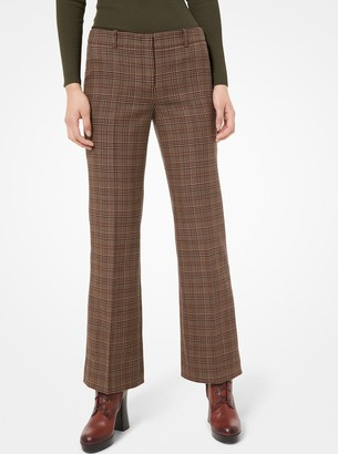 Michael Kors Glen Plaid Wool Cropped Trouser