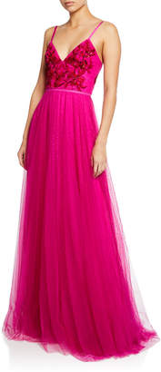 Marchesa V-Neck Sleeveless Embroidered Beaded Bodice Point D'Esprit Gown