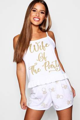 boohoo Petite Minnie Wife Of The Party Slogan Pj Set