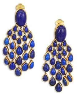 Aurelie Bidermann Lapis Lazui& 18K Goldplated Chandelier Earrings