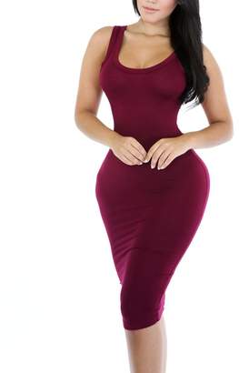 Glamorous QuneusHot Round Neck Sleeveless Slim Slinky Midi Cami Casual Bodycon T-Shirt Dress