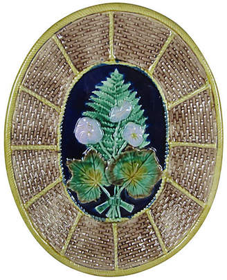 One Kings Lane Vintage Majolica Wicker & Fern Cheese Board