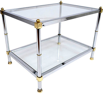 One Kings Lane Vintage Chrome and Brass Side Table - Castle Antiques & Design