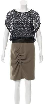 Yigal Azrouel Ruched Open Knit-Paneled Dress