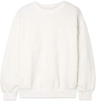 Anine Bing Lou Embroidered Textured Cotton-fleece Sweatshirt