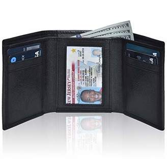 RFID Leather Trifold Wallets for Men- Handmade Slim Front Pocket Mens Wallet 6 Credit Card Holder with ID Window (