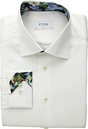 Eton Mens Slim Fit Solid Floral Cuff Detail Shirt