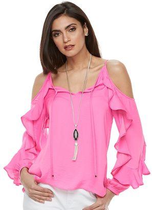 Women's Jennifer Lopez Cold-Shoulder Ruffle Top $48 thestylecure.com