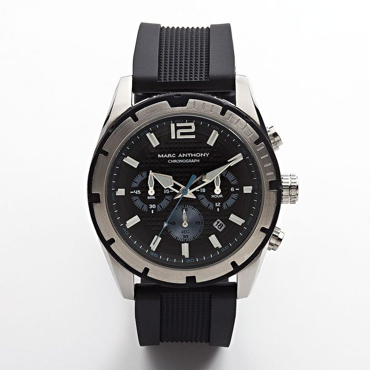 marc anthony stainless steel silicone chronograph
