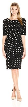 Connected Women's One Piece Dot Jewel Neck Elbow Sleeve Side Drape Skirt $48.30 thestylecure.com