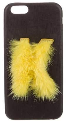 Fendi Iphone 4 Alphabet Fur-Trimmed Phone Case Black Iphone 4 Alphabet Fur-Trimmed Phone Case
