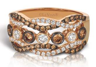 LeVian LE VIAN Ring with Chocolate and Vanilla Diamond Criss Cross Band 0.98ct 14K Rose Gold Size 7