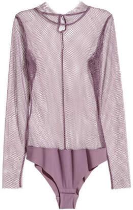 H&M Long-sleeved Mesh Bodysuit - Purple