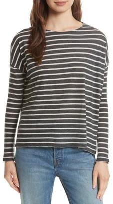 Women's Majestic Filatures Stripe Cotton & Cashmere Boatneck Top $198 thestylecure.com