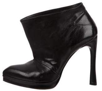 CNC Costume National Leather Pointed-Toe Booties