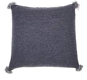 Alicia Adams Alpaca Pom-Pom Baby Alpaca Pillow-Blue