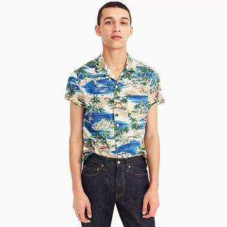 J.Crew Short-sleeve slub cotton shirt in island print