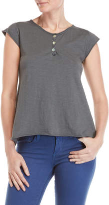 Made In Italy Cap Sleeve Rolled Trim Tee