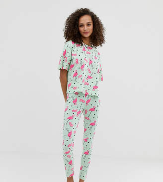 Asos Design DESIGN flamingo spot legging pyjama set