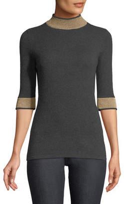 Neiman Marcus Cashmere Metallic-Banded Half-Sleeve Sweater