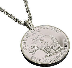 Lucky Elephant American Coin Treasures Coin Pendant and Chain