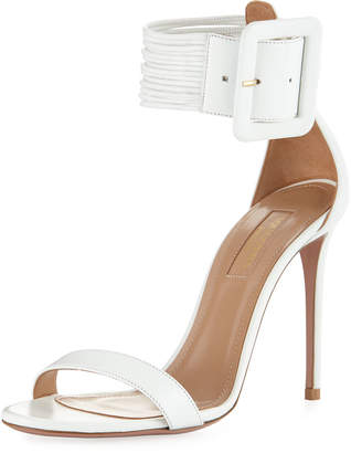Aquazzura Casa Blanca Lamb Leather Ankle-Cuff Sandal