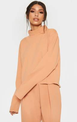 PrettyLittleThing Pale Tan High Neck Long Sleeve Sweater