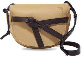 Loewe Gate Small Leather And Suede Shoulder Bag - Beige