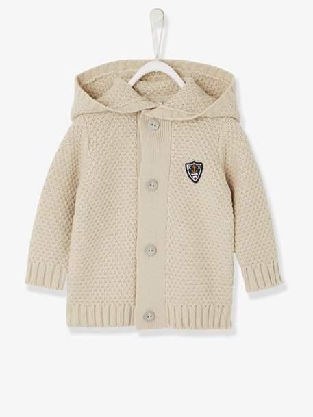 Baby Boys' Stylish Knit Cardigan - beige medium solid