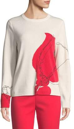 St. John Santana Knit Cashmere Embroidered Sweater