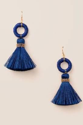 francesca's Arden Circle Tassel Earrings In Navy - Navy