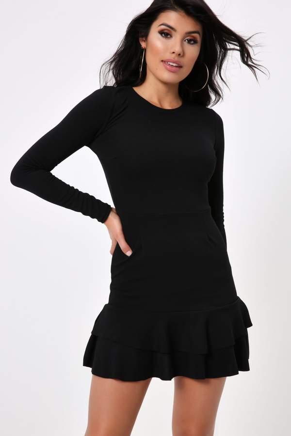 Isawitfirst Black Frill Hem Formal Mini Dress